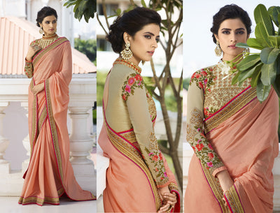 Embroidered Georgette Saree in Peach