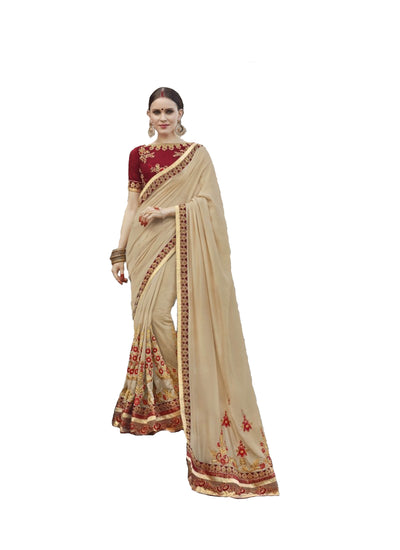 Embroidered Chinon Saree in Beige