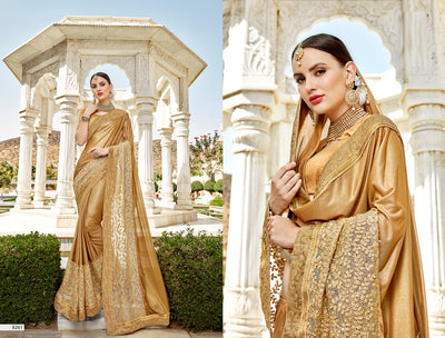 Embroidered Zarshi Saree in Shimmering Gold