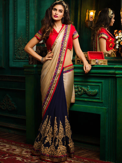 Embroidered Shahi Chiffon Saree with Vichitra Skirt in Beige and Navy Blue