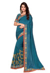 Embroidered Vichitra Saree in Sea Blue