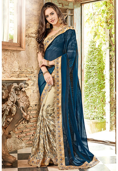 Embroidered Shahi Chiffon Saree with Chinon Skirt in Blue and Beige