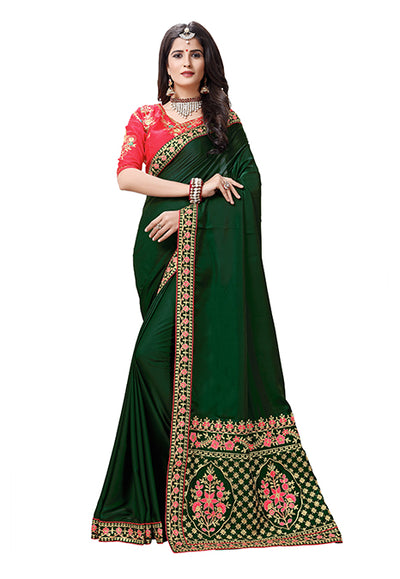 Embroidered Kashmiri Silk Saree in Dark Green