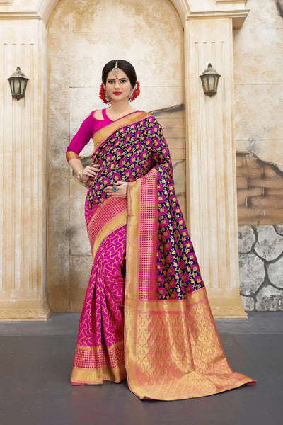 Woven Banarasi Silk Saree in Pink