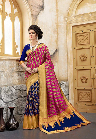 Banarasi Silk Saree in Pink and Blue