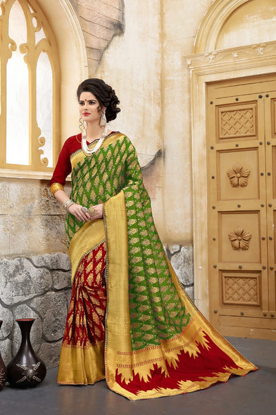 Woven Banarasi Silk Saree in Green and Red