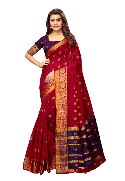 Woven Cotton Silk Saree in Red