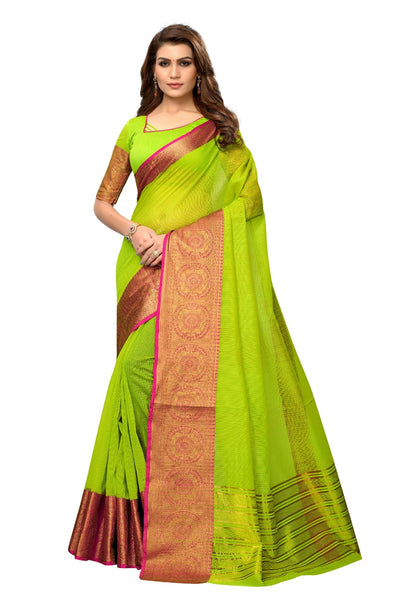Green Woven Cotton Silk Saree