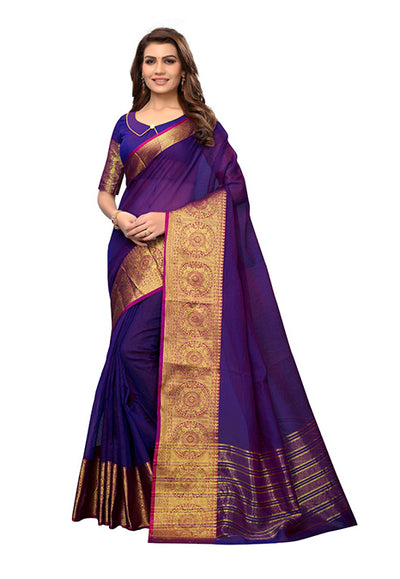 Purple Woven Cotton Silk Saree