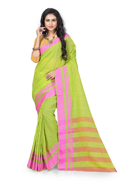 Printed Linen Saree in Green