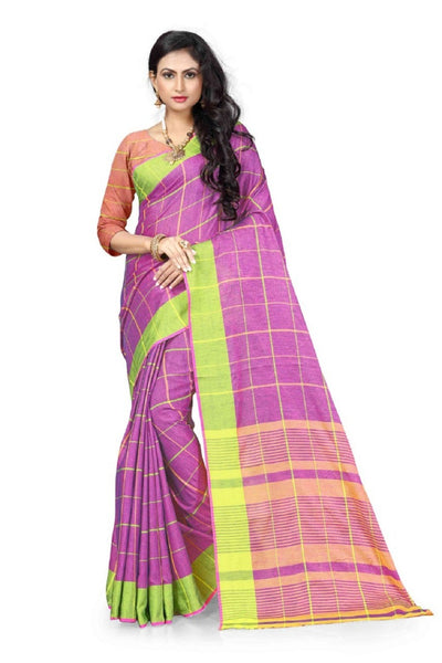 Printed Linen Saree in Purple