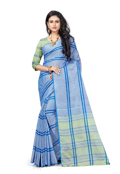Blue Printed Linen Saree