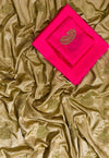 Embroidered Sana Silk Saree in Gold