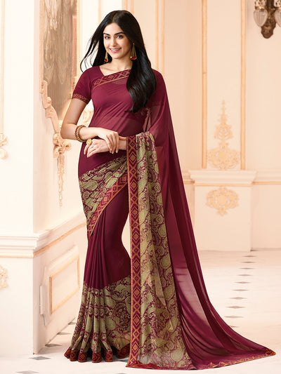 Printed Georgette Saree in Maroon