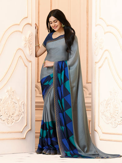 Printed Georgette Saree in Gray