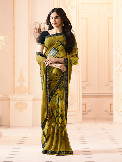 Printed Georgette Saree in Olive Green
