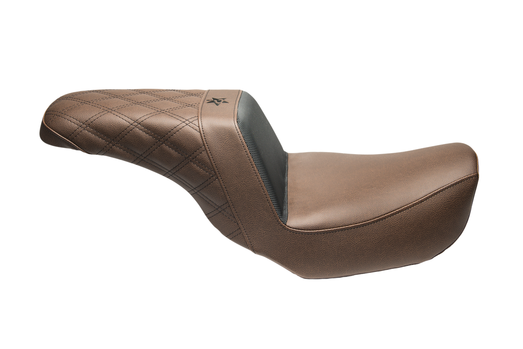 06-17 Dyna Brown Diamond Black Stitch Seat