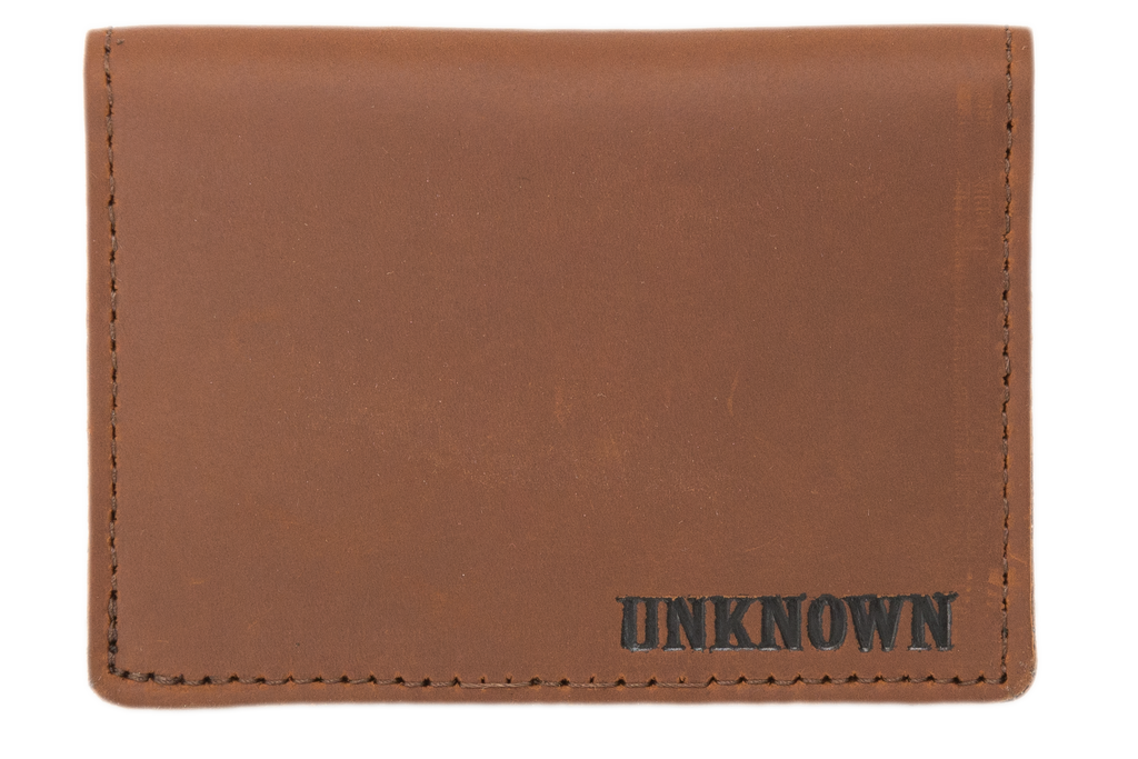 Brown Leather with black fill Pocket Wallet
