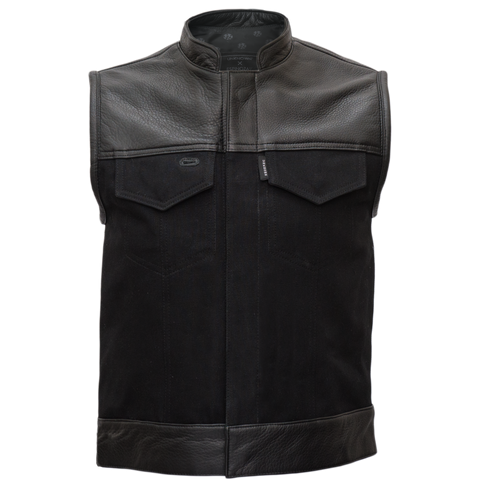 """raven"" Black Leather/Denim Vest"