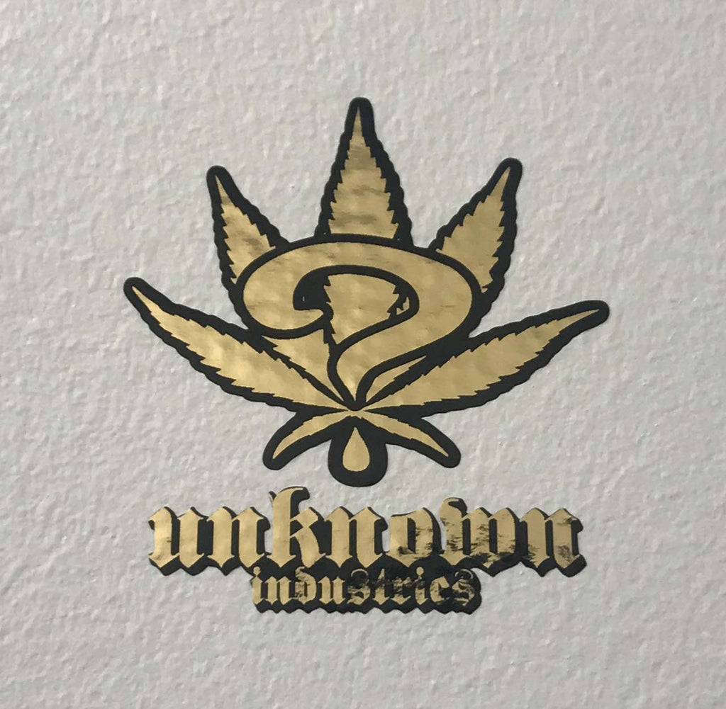Unknown Leaf Sticker Gold Foil & Black