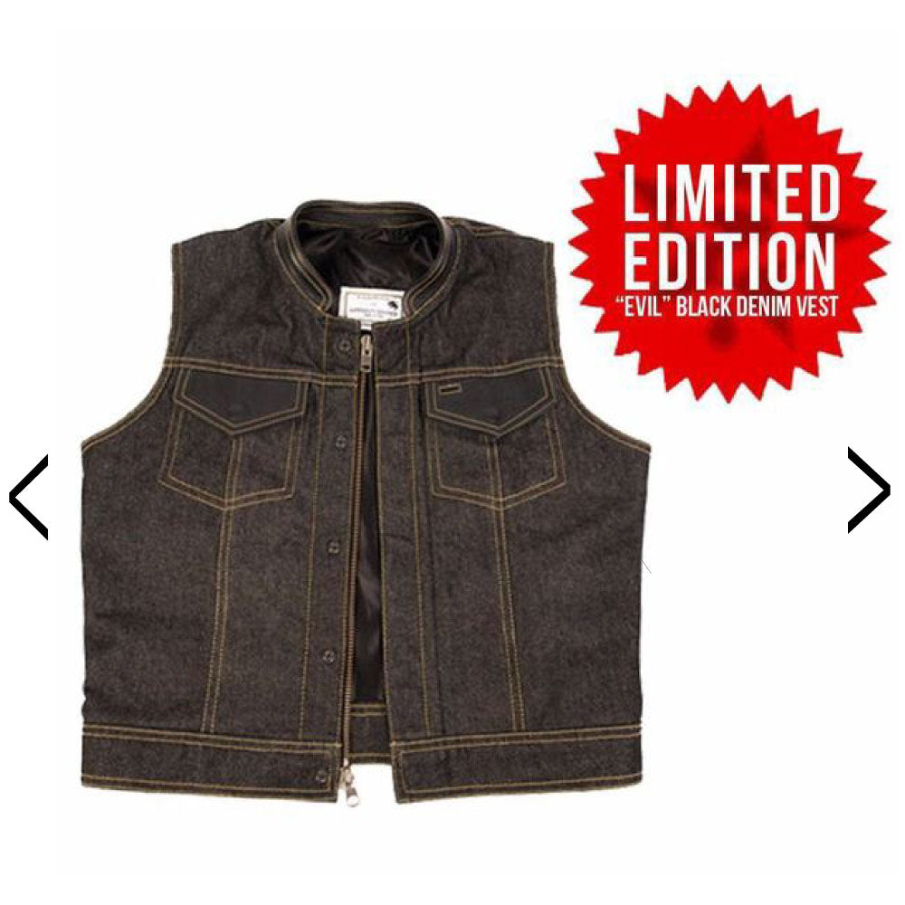 """EVIL"" Black Denim Vest"