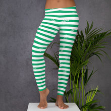 Load image into Gallery viewer, Green Holiday Leggings with Snowflakes