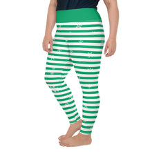 Load image into Gallery viewer, Green Holiday All-Over Print Plus Size Leggings with Snowflakes