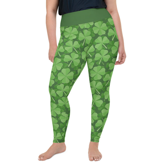 St.Patrick's day Green Clover All-Over Print Plus Size Leggings