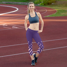 Load image into Gallery viewer, Violet and pink-ish Capri Leggings