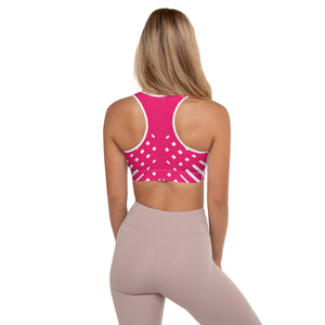 Pink and white Padded Sports Bra