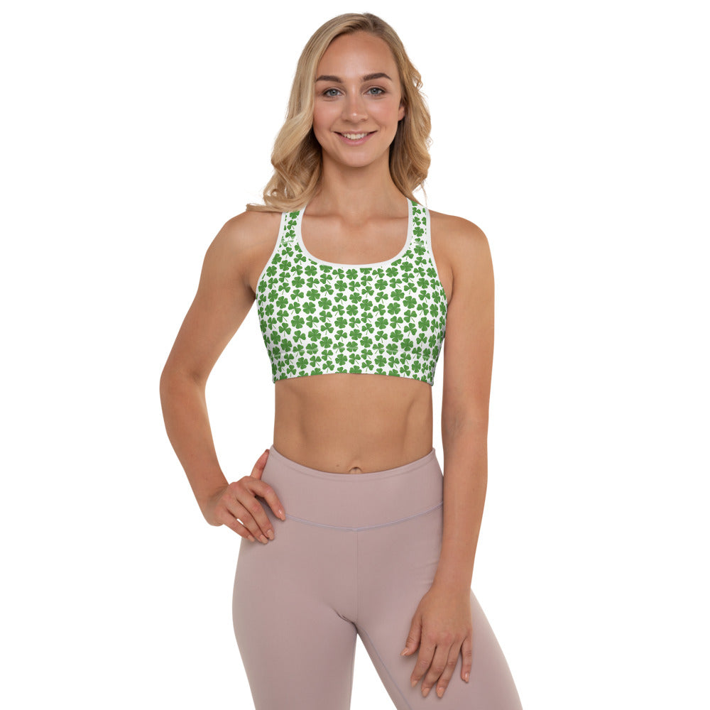 St.Patrick's day Clover Padded Sports Bra