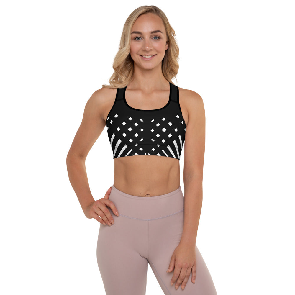 Black and white Padded Sports Bra