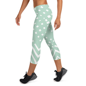 Green-ish and white Capri Leggings