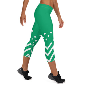Green and white Capri Leggings