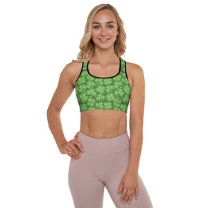St. Patrick's day Green Clover Padded Sports Bra