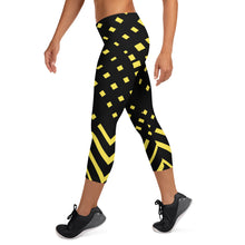 Load image into Gallery viewer, Black and yellow Capri Leggings