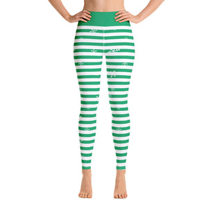 Green Holiday Yoga Leggings with Snowflakes