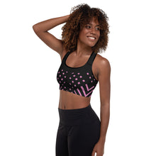 Load image into Gallery viewer, Black and pink Padded Sports Bra
