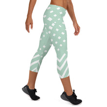 Load image into Gallery viewer, Green-ish and white Capri Leggings