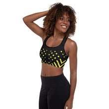 Load image into Gallery viewer, Black and yellow Padded Sports Bra