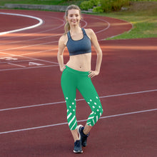 Load image into Gallery viewer, Green and white Capri Leggings
