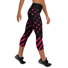 Load image into Gallery viewer, Black and happy pink Yoga Capri Leggings