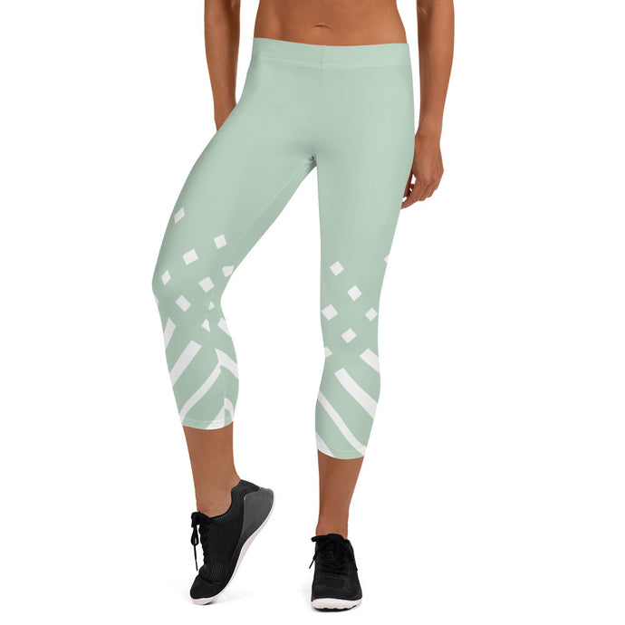 White and green-ish Capri Leggings