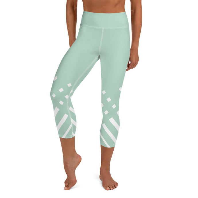 White and green-ish Yoga Capri Leggings