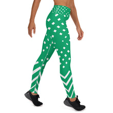 Load image into Gallery viewer, Green and white Yoga Leggings