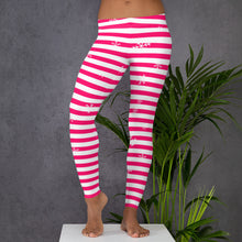Load image into Gallery viewer, Pink Holiday Leggings with Snowflakes