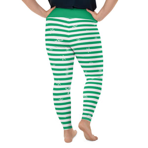 Green Holiday All-Over Print Plus Size Leggings with Snowflakes
