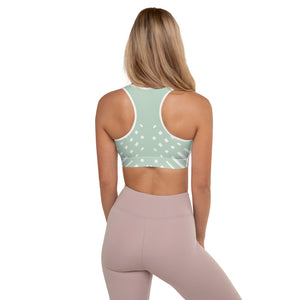 Green and white Padded Sports Bra