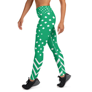 Green and white Yoga Leggings