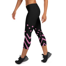 Load image into Gallery viewer, Black and pink Capri Leggings